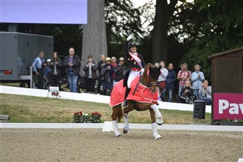 Cathrine Dufour on her lap of honour at the Danish Championship